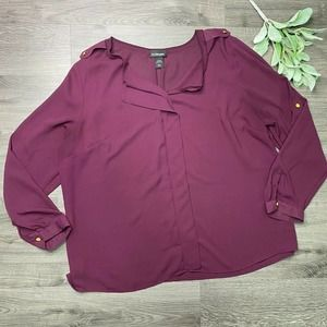 LANE BRYANT | sz 22/24 Sheer Maroon Blouse